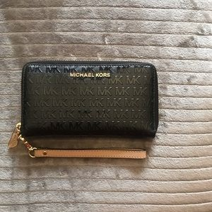 Black MK Wallet with detachable Wristlet